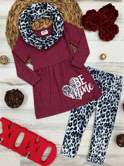 "Girls Heart ""Be Mine"" Tunic, Animal Print Leggings and Scarf Set 2T-10Y Valentine"