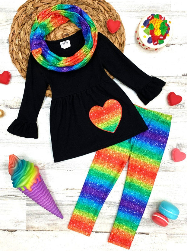 Girls Heart Applique Tunic with Rainbow Tie Dye Print Leggings and Scarf Set rainbow 2T-10Y