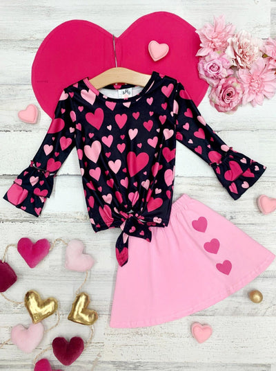 Girls Heart Print Top with Ruffled Long Sleeves and Skirt Set 2T-10Y