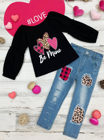 "Girls Long Sleeve ""Be Mine"" Heart Top and Patched Jeans Set 2T-10Y"