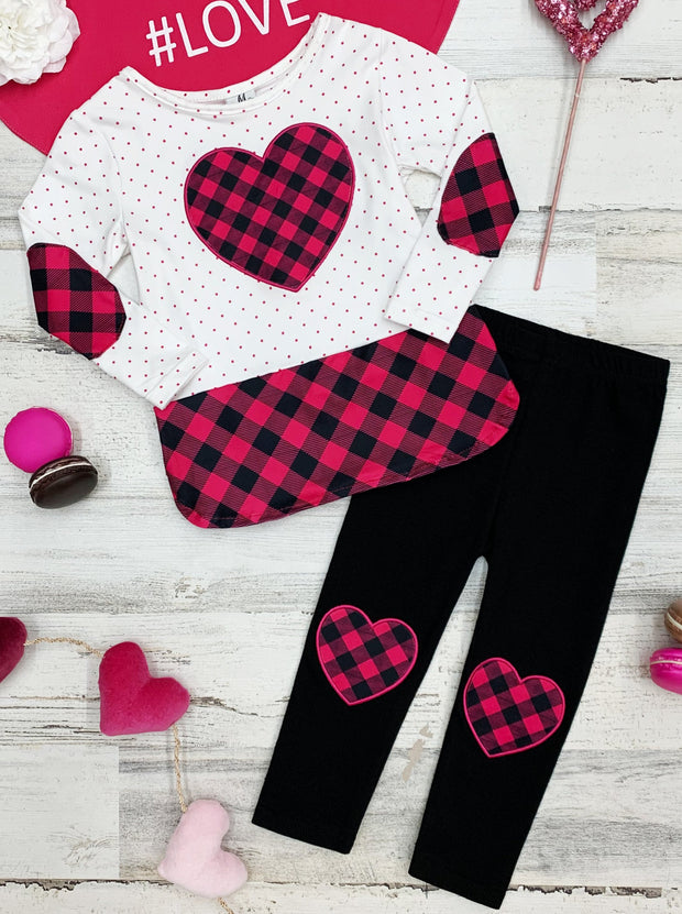 Girls Heart Applique and Patched Elbow Top and Heart Knee Patch Leggings Set white hot pink and black 2T-10Y valentine set