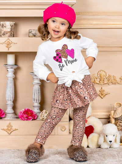"Girls ""Be Mine"" Top with Heart prints and animal print skirt legging 2T-10Y Valentine"