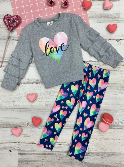 Mia Belle Girls Tie Dye Heart Ruffled Sleeve Top with Heart Leggings 2T-10Y Valentine Fall