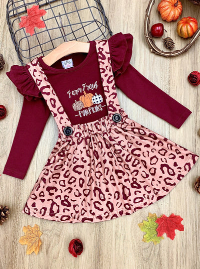 "Girls ""Farm Fresh Pumpkins"" Ruffled Top and Leopard Suspender Skirt Set"