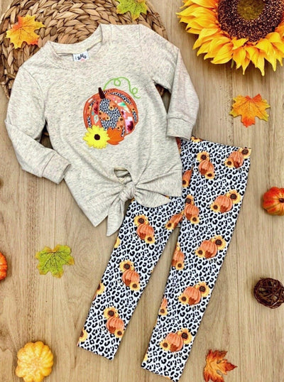 Girls Pumpkin Tie Knot Pullover Sweatshirt and Leggings Set