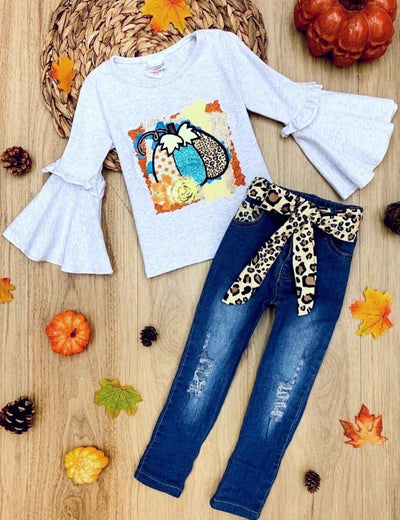 Girls Leopard Pumpkin Applique Boho Sleeve Top & Ripped Jeans with Belt Set