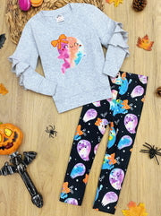 Girls Ruffled Sleeve Pullover Sweatshirt and Tie Dye Ghost Print Leggings