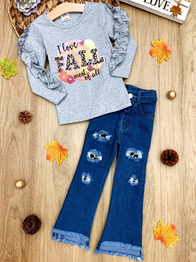 "Girls Ruffled ""I Love Fall Most Of All"" Grey Top and Distressed Jeans Set"