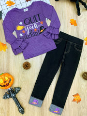 "Girls Ruffle Sleeve ""Quit Your Witchin"" Top and Cuffed Jeans Set"