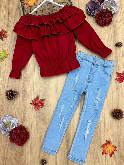 Girls Ruffled Bib Top and Distressed Jeans Set