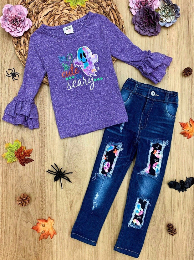 "Girls Ruffle Sleeve ""I'm So Cute It's Scary"" Top & Patched Denim Set"