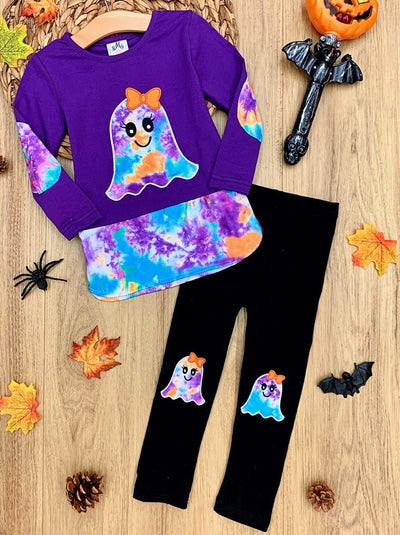 Girls Tie Dye Ghost Tunic and Patched Leggings Set