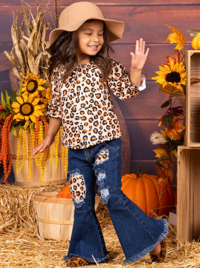 Girls Leopard Print Top and Patched Bell Bottom Jeans Set