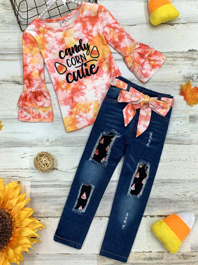 "Girls Tie Dye ""Candy Corn Cuite"" Top and Patched Jeans Set"