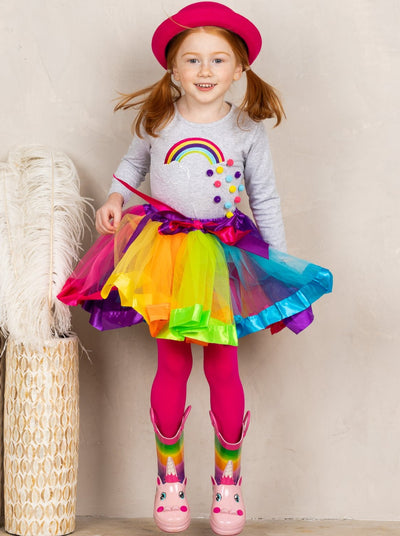 Girls Rainbow Pom Pom Top and Rainbow Tutu Skirt Set