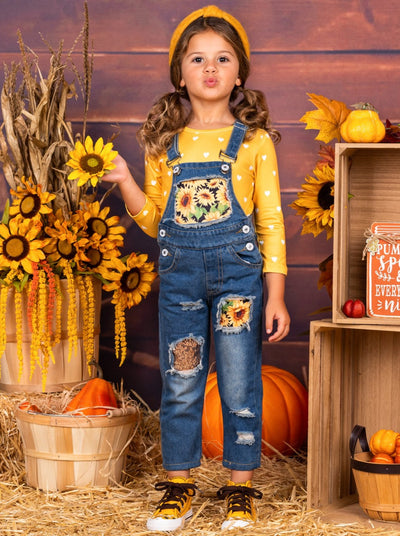 Girls Sunflower Denim Overall Set
