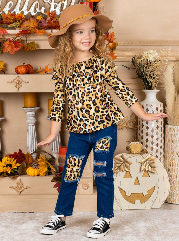 Girls Leopard Ruffled Bib Top and Patched Jeans Set