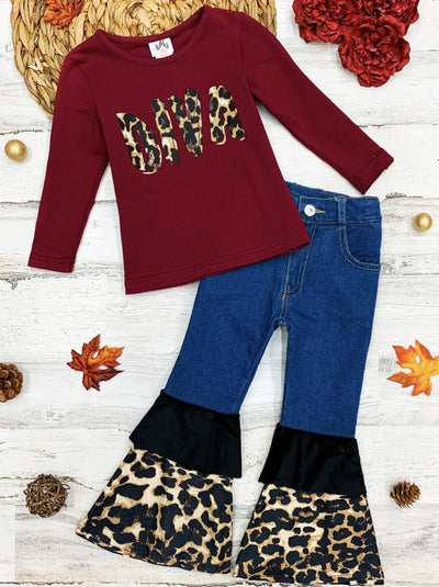 "Girls Leopard ""Diva"" Top and Ruffled Bell Bottom Jeans Set"