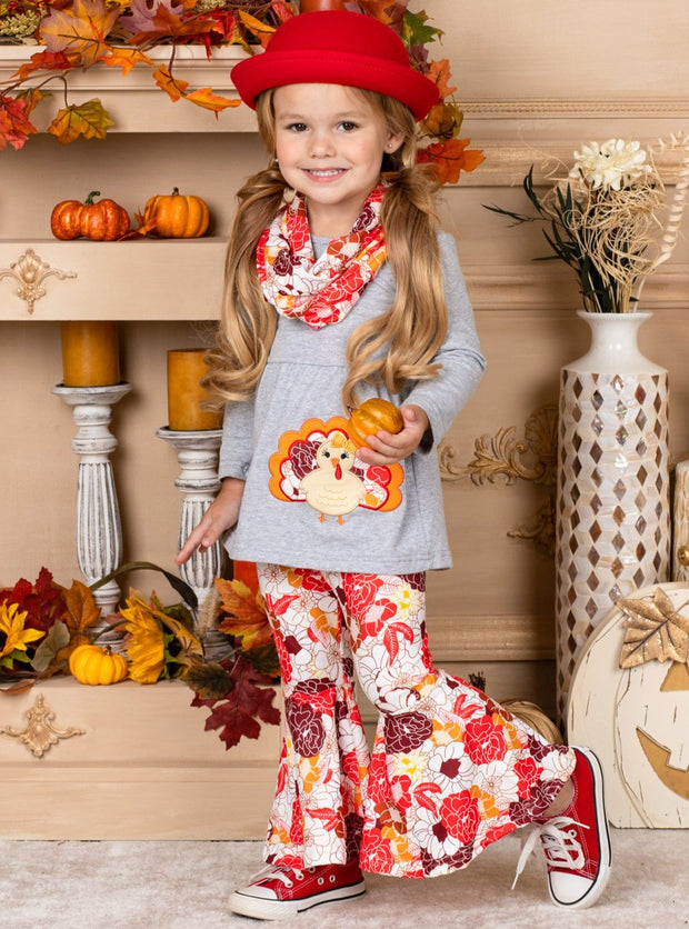 Girls Turkey Applique Grey Tunic, Floral Print Leggings & Matching Scarf Set