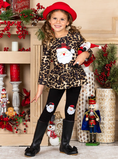 Girl Peplum Santa Applique Top and Santa Knee Patch Leggings Set