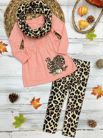 Girls Turkey Long Sleeve Tunic, Animal Print Leggings & Scarf Set
