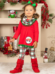 Girls Christmas Truck Tunic and Plaid Leggings and Scarf Set