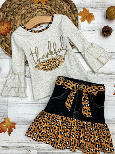 "Girls ""Thankful"" Top and Leopard Ruffled Denim Skirt Set"