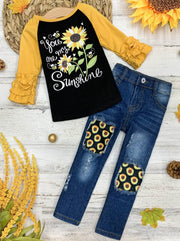 "Girls ""You Are My Sunshine"" Raglan Top and Patched Jeans Sunflower Set"