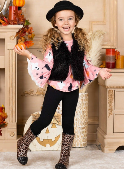 Girls Boho Sleeve Tunic, Faux Fur Vest and Leggings Set