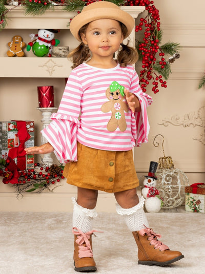 Girls Striped Gingerbread Girl Top and Faux Button Skirt Set