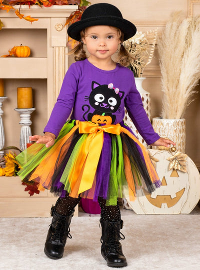 Girls Kitten and Pumpkin Top & Tutu Bow Skirt Set