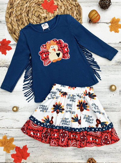 Girls Turkey Side Fringe Top and Turkey Paisley Print Skirt Se