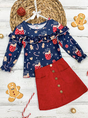 Girls Hot Cocoa Candy Cane Print Ruffled Top & Faux Buttoned Skirt Set