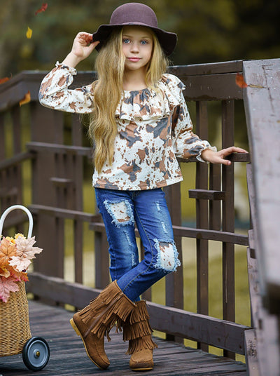 Girls Cow Print Top and Patched Jeans Set