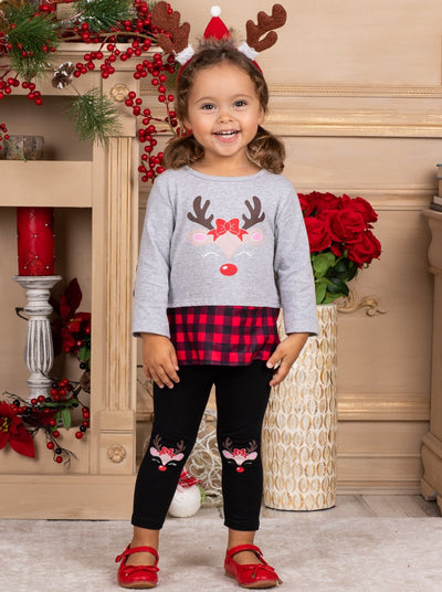 Girls Plaid Rudolph Tunic and Patched Leggings Set 2T-10Y