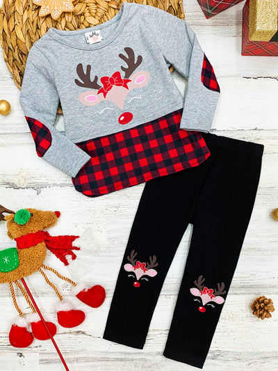 Girls Plaid Rudolph Tunic and Patched Leggings Set