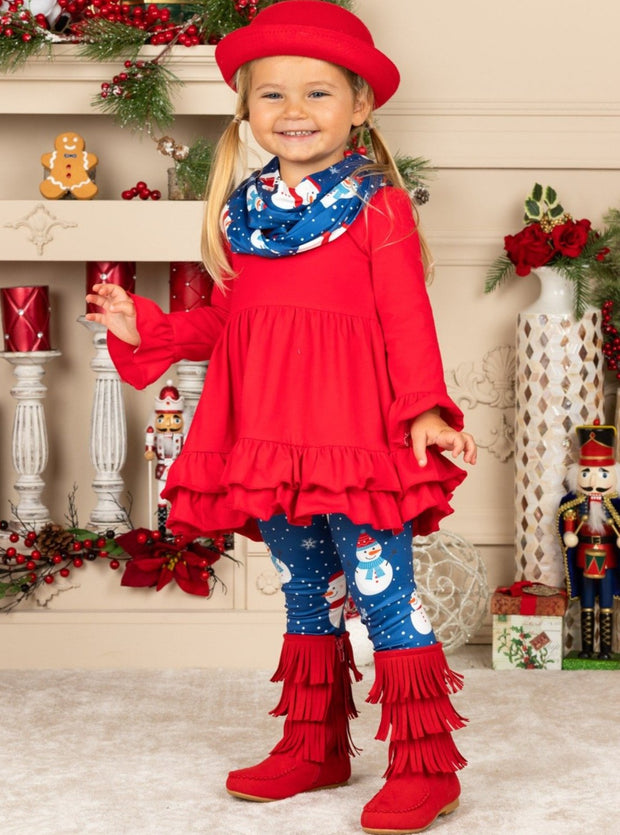 Girls Long Sleeve Tunic, Snowman Print Leggings & Scarf Set
