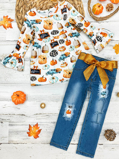 Girls Pumpkin Print Ruffled Tunic & Patched Jeans with Sash Set