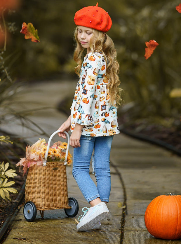 Girls Pumpkin Print Ruffled Tunic & Patched Jeans with Sash Set 2T-10Y