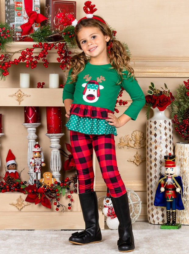 Girls Rudolph Ruffled green Top & red-black Plaid Leggings Set