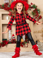 Plaid Tunic with Belt And Legging Little Girls