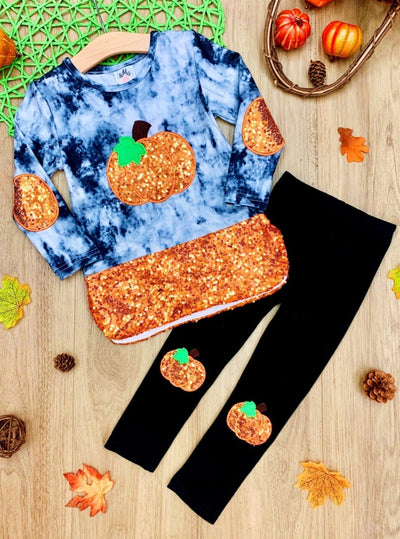 Girls Tie Dye Sequin Pumpkin Tunic and Patched Leggings Set