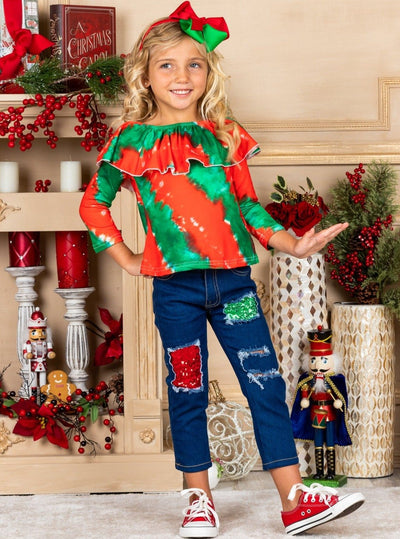 Girls Ruffled Neckline green red Tie Dye Top and Patched sequin Jeans Set