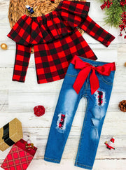 Girls Ruffled Neckline Plaid Red Top and Patched Jeans Set