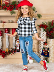 Girls Ruffled Neckline Plaid White Top and Patched Jeans Set