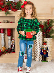 Girls Ruffled Neckline Plaid greenTop and Patched Jeans Set