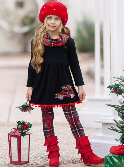 Girls Long Sleeve Truck Black Tunic, Plaid Leggings & Scarf Set 2T-10Y