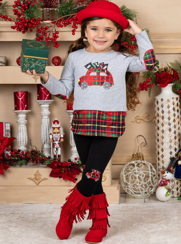 Girls Plaid Truck frey Top and Matching black Patched Leggings Set 2T-10Y