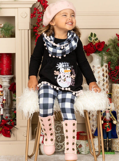 Girls Long Sleeve Snowman Tunic, Plaid Leggings & Scarf Set