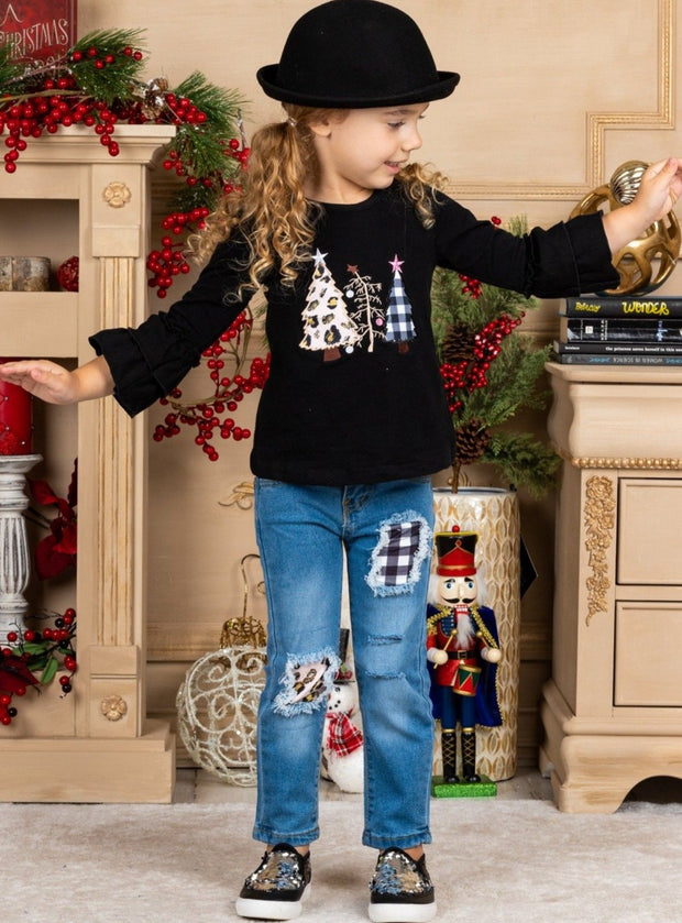 Girls Christmas Trees Ruffled Tunic & Patched Jeans with Sash Black Set 2T-10Y
